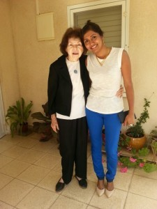 """Janet Tauro (right), a foreign worker from Mumbai, is the caretaker for Varda Kahanovich (left), a 90-year-old Israeli woman living on Kibbutz Maagan Michael. """"Today the foreign caregiver that lives with the patient—this is the most common way to grow old in Israel,"""" says Yaron Bengera, vice president of Yad Beyad, a Tel Aviv-based agency that recruits foreign workers. Credit: Provided photo."""