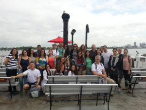 Students of the University of Haifa's Ruderman Program for American Jewish Studies visit Ellis Island last month as part of their 10-day U.S. trip. Credit: Courtesy of Gur Alroey.