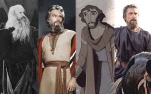 """From left to right, Theodore Roberts in """"The Ten Commandments"""" (1923), Charlton Heston in """"The Ten Commandments"""" (1956), Moses voiced by Val Kilmer in """"The Prince of Egypt"""" (1998), and Christian Bale in """"Exodus: Gods and Kings"""" (2014). Credits (left to right): Paramount, Paramount, DreamWorks, 20th Century Fox. Photo illustration by Marshall Weiss."""