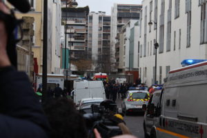 The scene of the Jan. 7 Muslim terror attack on the offices of the Charlie Hebdo satirical newspaper in Paris. Credit: Thierry Caro via Wikimedia Commons.