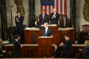 Israeli Prime Minister Benjamin Netanyahu waives to the crowd during his address to a joint session of Congress on Tuesday. Credit: Amos Ben Gershom/GPO.