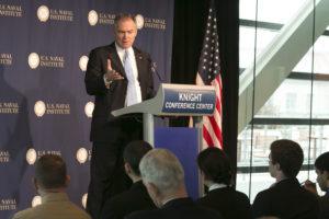 U.S. Sen. Tim Kaine (D-Va.) gives a speech in December 2013. Credit: U.S. Naval Institute via Flickr.com.