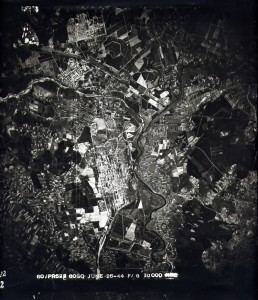 An aerial surveillance photo that U.S. pilots took over Auschwitz in 1944. Credit: Courtesy of the David S. Wyman Institute for Holocaust Studies.