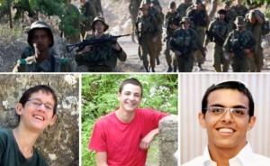 Clockwise, from top: Israeli soldiers take part in an operation to locate three Israeli teens near Hebron June 24; Missing Israeli teens Eyal Yifrach, Gilad Shaar and Naftali Frenkel. Photos from Reuters