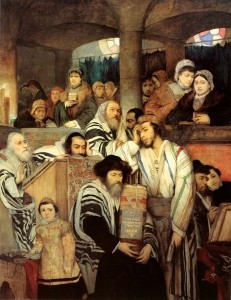 A depiction of Jews praying in synagogue on Yom Kippur. Thirty-two countries have asked the U.N. to recognize Yom Kippur as an official holiday. Credit: Maurycy Gottlieb via Wikimedia Commons.