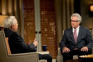 """Film educator Eric Goldman (right), organizer of """"The Projected Image: The Jewish Experience on Film,"""" in conversation with Turner Classic Movies host Robert Osborne. Credit: David Holloway/TCM"""