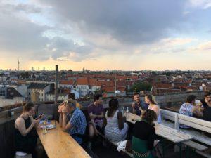 The view from Klunkerkranich, a rooftop beer garden in Berlin. Credit: Orit Arfa.